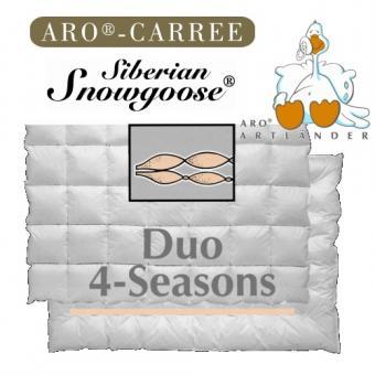 ARO 135x200 DUO 4-Season Carree-Cassette Daunendecke Snowgoose